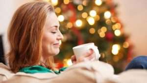 Christmas, coffee, woman